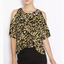 Topshop Cold Shoulder Top Blouse 4 (S) Shirt Blouse Tee Green Black Print