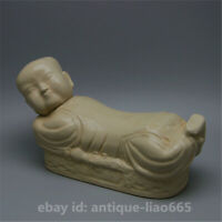 Chinese Ding Kiln Porcelain Carving Doll Sleeping Posture Porcelain Pillow 宋定窑瓷枕