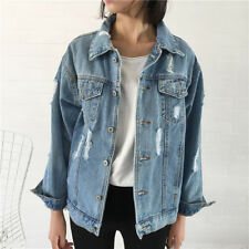 Women Ladies  Faded  Ripped Oversized Denim Jacket Slim  Jeans Coat Outfit