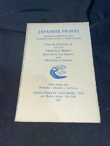 """""""Japanese Prints"""" 1957 Parke-Bernet Auction Catalog ~ Charles J. Morse, Art ++"""