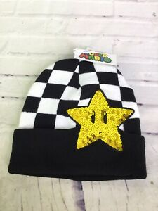 Nintendo Super Mario Star Logo Sequin Logo Knit Cuff Beanie Hat Cap Black White