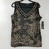 Elementz Sleeveless Top Blouse Ruffled Leopard Print Black Gold 1X 2X 3X NEW