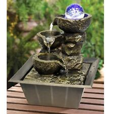 More details for indoor stone fountain water feature led lights polyresin statues home decor