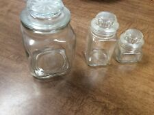 Set of 3 Apothecary Decorator Storage Display Glass Clear Jars Containers