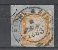 FRANCOBOLLI 1863 SARDEGNA 10 C. ARANCIO OCRA S.PIERO A SIEVE 8/2 B/8486