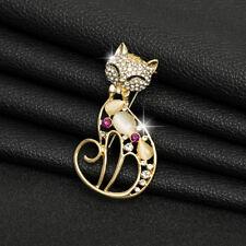 Brooch Jacket Backpack Pin Gift Fm Bling Rhinestone Cute Cat Crystal Charm