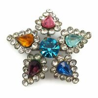 Silver Tone Multicolored Crystal Rhinestone Five Point Star Broach Lapel Pin