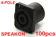 100 x 4-Pole Female Panel Mount Square Pro Speakon Solder Connector Head Socket