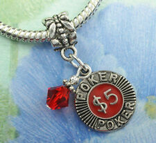 Red Crystal Poker Chip Dangle Charm Beads w Swarovski Elements European Style