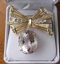 Estate Custom Huge19.85 carat Morganite &14k yellow gold pendant drop brooch pin