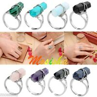 Adjustable Hexagon Healing Point Chakra Gems Stone Charm Beads Finger Ring Gift