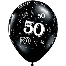 "10 pc 11"" Black & White 50th Around Print Latex Balloon Happy Birthday Over Hill"