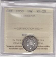 1858 Canada 10 Cents Silver Coin - ICCS Graded VF-20