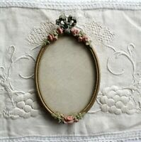 Antique Gold Gesso Oval Picture Frame Ornate Wood Vintage 5.5x9 Shabby Rose Chic