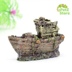 Aquarium Mini Resin Shipwreck Statue Fish Tank Decoration Ship Small Fishes Hide
