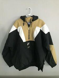 vintage Purdue Boilermakers Quarter-Zip Hooded Pullover Starter Jacket Size XXL
