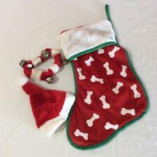 "Dog Bone Christmas Stocking Hat Collar With Bell 15"" Red White Dog Bones"
