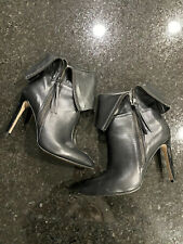 Neiman Marcus Linix Black Leather Foldover Calf Heeled Booties Boots Size 9