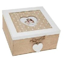 Provence Amour Shabby Chic Look Decorative Hearts Wooden Square Trinket Box 16CM