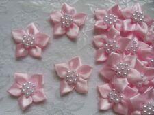 "1-1/4"" Lovely Lt.Pink Satin Ribbon Flowers w/ Bead Appliques-36 pcs-R0080K(43)"