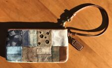 Coach Signature Patchwork Suede Toffee Brown Wristlet Wallet Clutch #2361