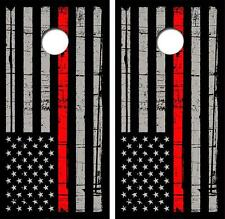 The Thin Red Line Version Cornhole Board Decal Wrap Free Squeegee