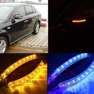 2X LED Yellow & Blue View Side Rear Mirror DRL Light Lamp Turn Signal Indicators