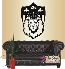 Vinyl Decal Lion King with Crown on Throne Lion Head Removable Wall Sticker 308