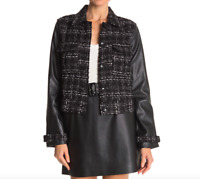 Laundry By Shelli Segal Women's Size Small Faux Leather Sleeve Boucle Jacket NEW