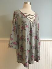 Size 2 Maurice's Gray Floral Corset Tie Neck Top Blouse Shirt Women's Plus 2X