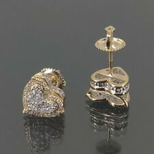 Natural Diamond 0.35 CT Heart Earring in 10 K Yellow Gold