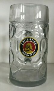 Paulaner Munchen Dimpled Oktoberfest Single Glass Beer Mug, 1L, 1 Liter, German