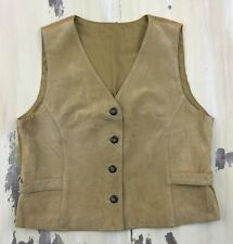 LEATHER & CORDUROY VEST - Vtg 80s-90s Camel Tan Button-up, Womens M-L