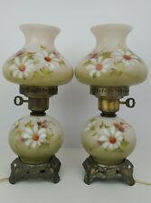 (2) Vintage Gone With The Wind Hand Painted Floral Small Glass & Metal Lamps