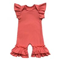 d18385ab2 Newborn Baby Infant Girls Flutter Sleeve Icing Romper Night Gown Sleeping  Suit