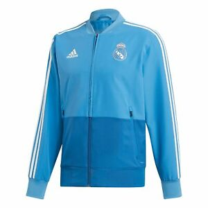 Real Madrid Training Woven Presentation Jacket Coat Top Blue Adidas - Mens