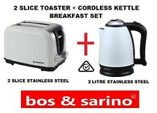 WHITE 2 Slice Toaster & 2L Cordless Kettle Stainless Steel Full Safety Certified