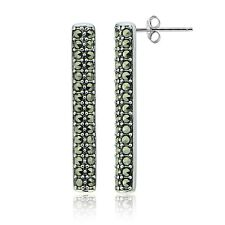 Sterling Silver Marcasite Bar Drop Earrings