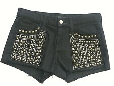 7 For All Mankind Size 25 Black Jean Embellished Shorts Seven For All Mankind