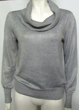 SIZE 10 LADIES FINE KNIT JUMPER LIGHT GREY MARKS & SPENCER COWL NECK
