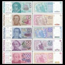 Mazuma *F748 Argentina 1985-91 1,5,10,50,100 Australs Total 5Pc (Random) Set UNC
