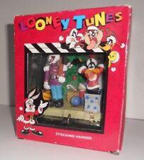 1996 Looney Tunes Christmas Stocking Hanger Holder Bugs Bunny Daffy Duck NIB