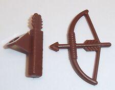 Lego Bow & Arrow + Quiver x 1 Each Reddish Brown for Minifigure