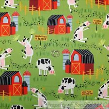 BonEful FABRIC Cotton Quilt Green Grass Baby Farm Animal B&W Cow Red Barn SCRAP