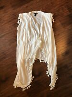 Forever 21 womens open front tie shirt top tassels fringe Size Small White (O)