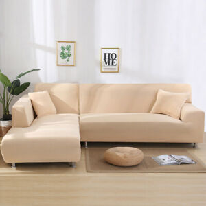 White L Shaped Sofa Cover Stretch Slipcover Universal Fitting Elastic Protector