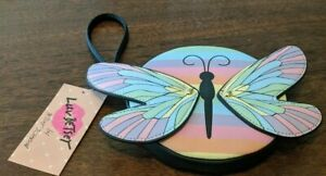 NWT Betsey Johnson Butterfly Wristlet Round Wings Multicolored Pastels