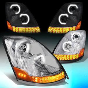 FOR 2004-2018 VOLVO VNM VNL LED DRL+SEQUENTIAL SIGNAL PROJECTOR HEADLIGHT LAMPS