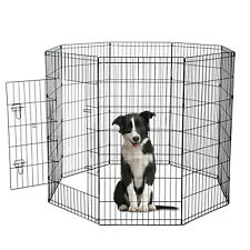 PawHut PawHut Pet Cage 8 Panels Steel Wire Dog Puppy Playpen Fence Training
