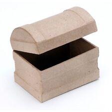 Paper Mache Treasure Chest Large 4.5 x 3.25 x 3.75  BG